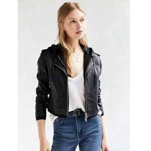 Silence + Noise Faux Leather Jacket Hooded